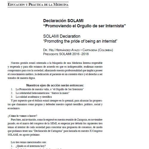 """Declaración Solami """"Promoviendo el orgullo de ser Internista"""""""