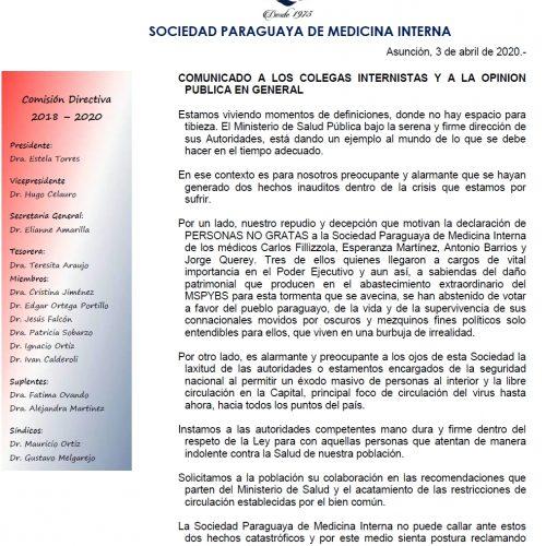 COMUNICADO A LOS COLEGAS INTERNISTAS Y A LA OPINIÓN PÚBLICA