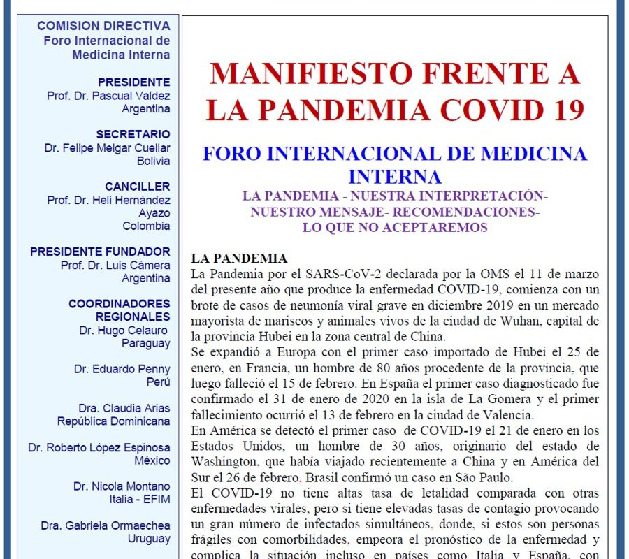 Carta FIMI a sociedades en Pandemia