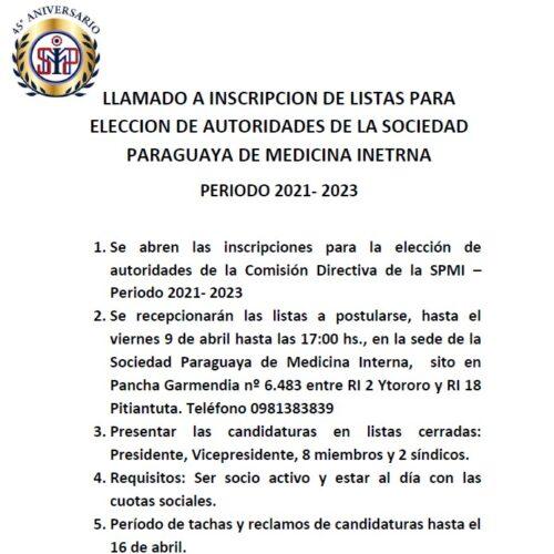 LLAMADO A INSCRIPCION DE LISTAS PARA ELECCION DE AUTORIDADES