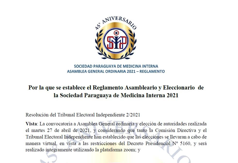 ASAMBLEA GENERAL ORDINARIA 2021 -REGLAMENTO